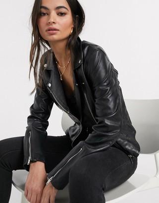 Stradivarius real leather jacket in black