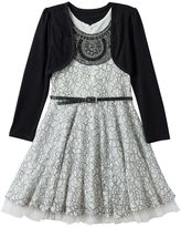Knitworks Girls 4-6x Lace Dress & Shrug Set