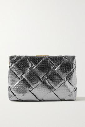 Nancy Gonzalez Woven Metallic Elaphe Clutch - Gunmetal