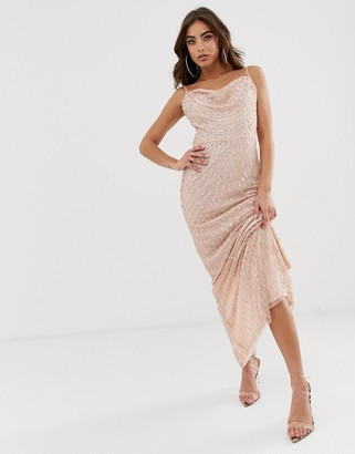 Lipsy allover embellished sequin maxi dress in pink