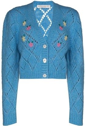 Alessandra Rich Floral Cropped Cardigan