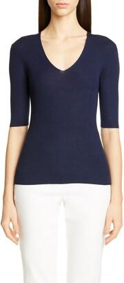St. John Fine Gauge Ribbed Sweater