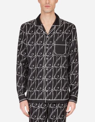Dolce & Gabbana Silk Pajama Shirt With All-Over Print