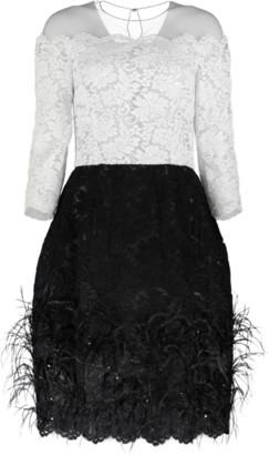 Oscar de la Renta Lace Top Cocktail Dress