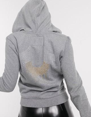 True Religion zip up hoodie in grey