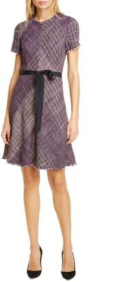 Rebecca Taylor Cotton Blend Tweed Fit & Flare Dress