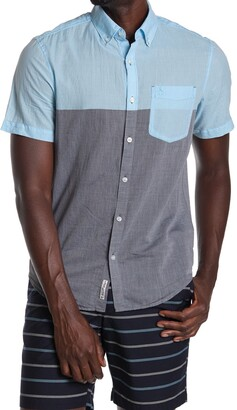 Original Penguin Woven Short Sleeve Colorblock Shirt