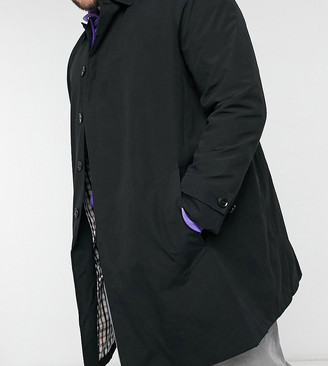 Burton Menswear Big & Tall mac coat in black