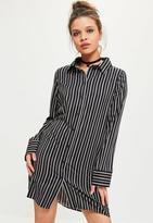 Missguided Stripe Big Cuff Shirt Dress