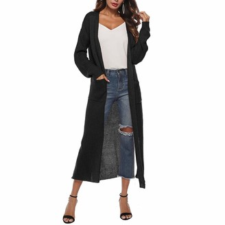 Levliong Women Split Knit Slim Cardigan Maxi Long Sleeve Loose Asymmetric Open Front Cardigan Women Sweaters with Pocket Grey