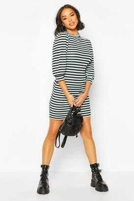 boohoo Puff Sleeve Mini Dress In Striped Rib