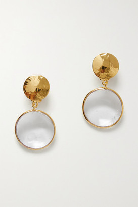 LOULOU DE LA FALAISE Gold-plated And Glass Clip Earrings - Clear
