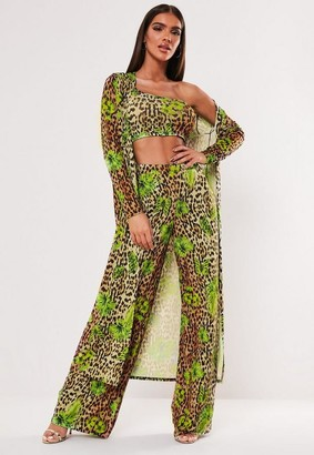Missguided Brown Leopard Print Butterfly Mix Duster Jacket