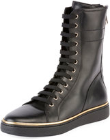 Balmain Albion Leather High-Top Sneaker Boot, Noir