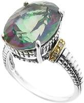 Meredith Leigh Sterling Silver & 14K Yellow Gold Mystic Quartz & CZ Double Rope Ring