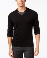 INC International Concepts Men's Faux-Leather Trim Sweater, Only at Macy's