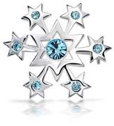 Bling Jewelry Crystal 925 Silver Star Snowflake Polished Pin Brooch