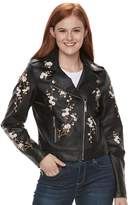J 2 Juniors' J-2 Floral Embroidered Moto Faux-Leather Jacket
