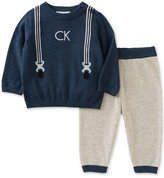 Calvin Klein 2-Pc. Suspenders Sweater & Jogger Pants Set, Baby Boys (0-24 months)