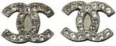 Chanel Silver Tone Coco Mark Line Rhinstone Bijou Pierce Earrings