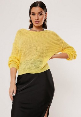 Missguided Tall Yellow Fluffy Twist Back Oversized Sweater