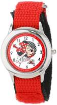Disney Kids' W001042 Minnie Time Teacher Stainless Steel Watch with Red Nylon Band