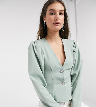 Asos Tall ASOS DESIGN Tall structured blouse with diamante buttons in sage green-No Color