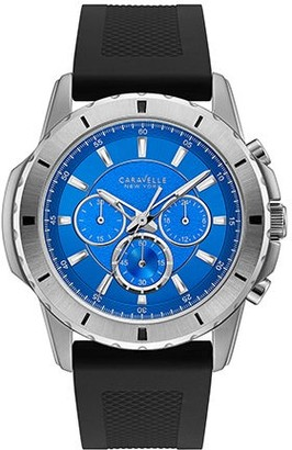 Caravelle Men's 43A138 Stainless Chrono Blue Dial Silicone Strap Watch - Black