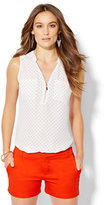 New York & Co. Soho Soft Shirt - Zip-Front - Polka Dot