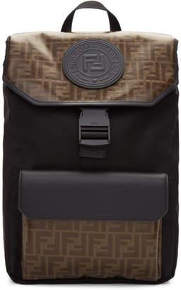Fendi Black and Brown Forever Backpack