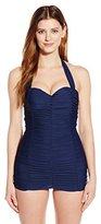 Unique Vintage Women's Sweetheart Halter Ruched Mansfield One-Piece Swimsuit