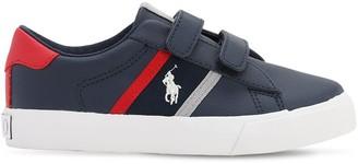 Ralph Lauren Logo Detail Faux Leather Straps Sneakers
