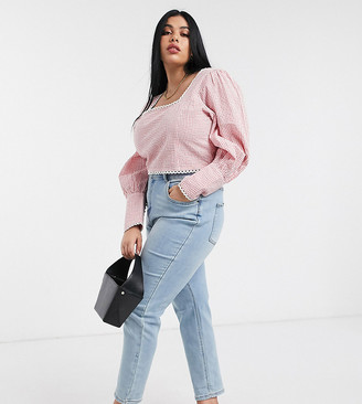 Simply Be demi mom jeans in stonewash
