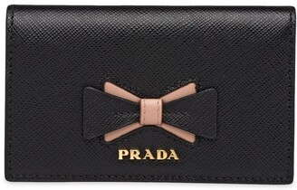 Prada Saffiano leather card holder with bow
