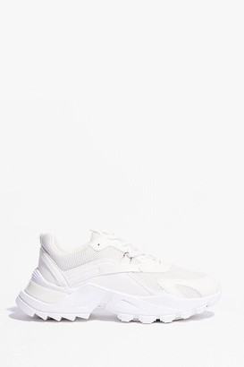 Nasty Gal Womens PU mixed fabric D ring lace up trainers - White - 3