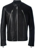 Maison Margiela zip detail biker jacket - men - Cotton/Leather/Viscose - 48