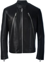 Maison Margiela zip detail biker jacket - men - Cotton/Leather/Viscose - 50