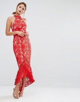 Jarlo Lace High Neck Midi Dress