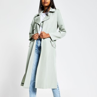 River Island Womens Light Green tie belted duster jacket