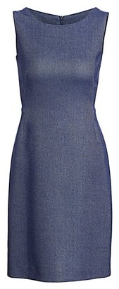 Akris Sleeveless Chambray Pique Sheath Dress