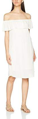 Ichi Women's 20103352 Jumper Crew Neck Short Sleeve Dress - White - 14