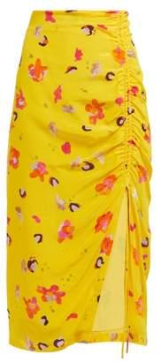 Altuzarra Fausto Floral-print Silk Midi Skirt - Womens - Yellow Multi