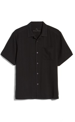 Tommy Bahama Herringbone Short Sleeve Silk Button-Up Camp Shirt