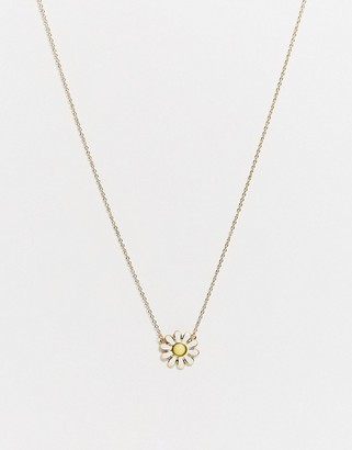 ASOS DESIGN necklace with daisy pendant in gold tone