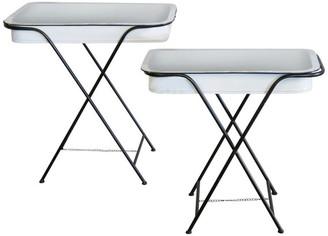 American Mercantile Metal Tray Tables Set of 2, White/Black
