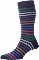 Pantherella Kilburn Double Colour Striped Cotton Lisle Socks by Medium