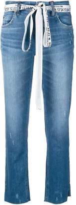 Cambio branded belt cropped jeans