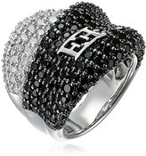 Escada Sterling Silver Black and White Cubic Zirconia Wave Ring, Size 7