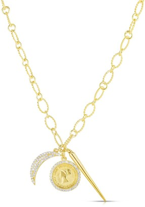 Sphera Milano 14K Yellow Gold Plated Sterling Silver Pave CZ Moon & Coin Charm Necklace