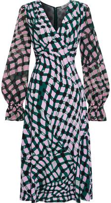 Diane von Furstenberg Idris Chiffon-paneled Printed Crepe Midi Dress